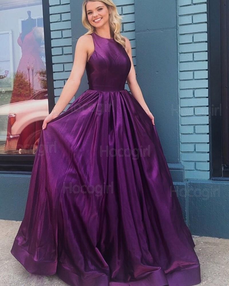 Jewel Purple Simple Satin Pleated Prom Dress PD1755