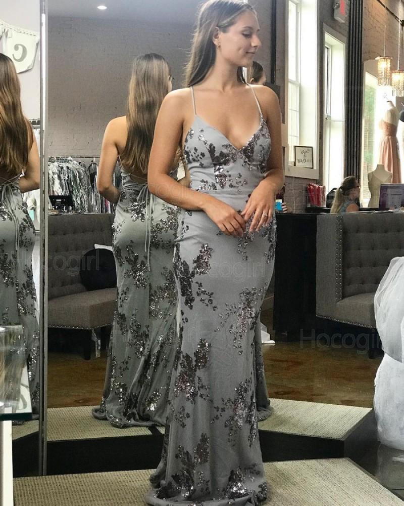 Spaghetti Straps Sequin Dusty Blue Mermaid Prom Dress PD1757