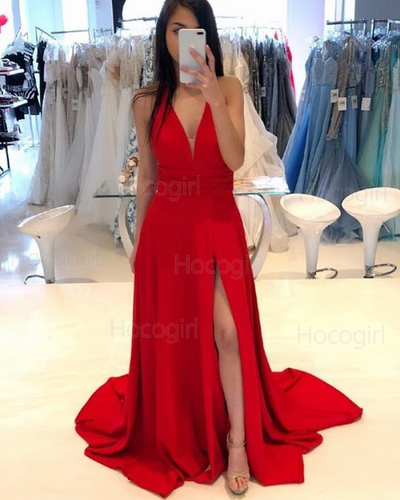 Deep V-neck Red Satin Simple Prom Dress with Side Slit PD1763