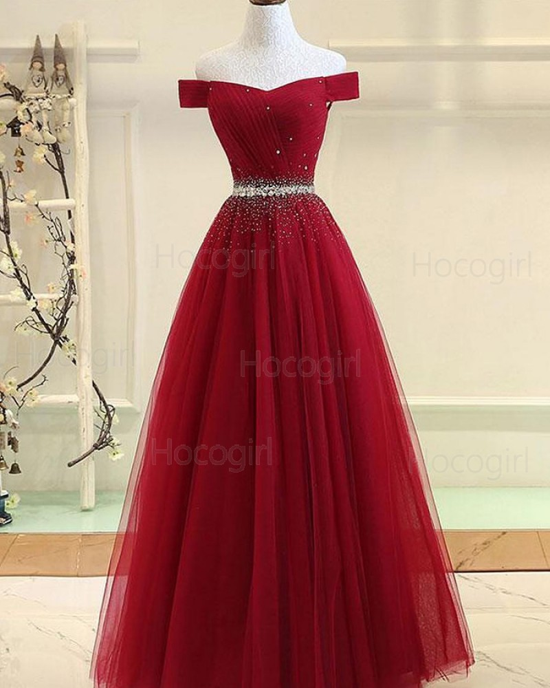 Off the Shoulder Ruched Red Beading Tulle Prom Dress PD1781