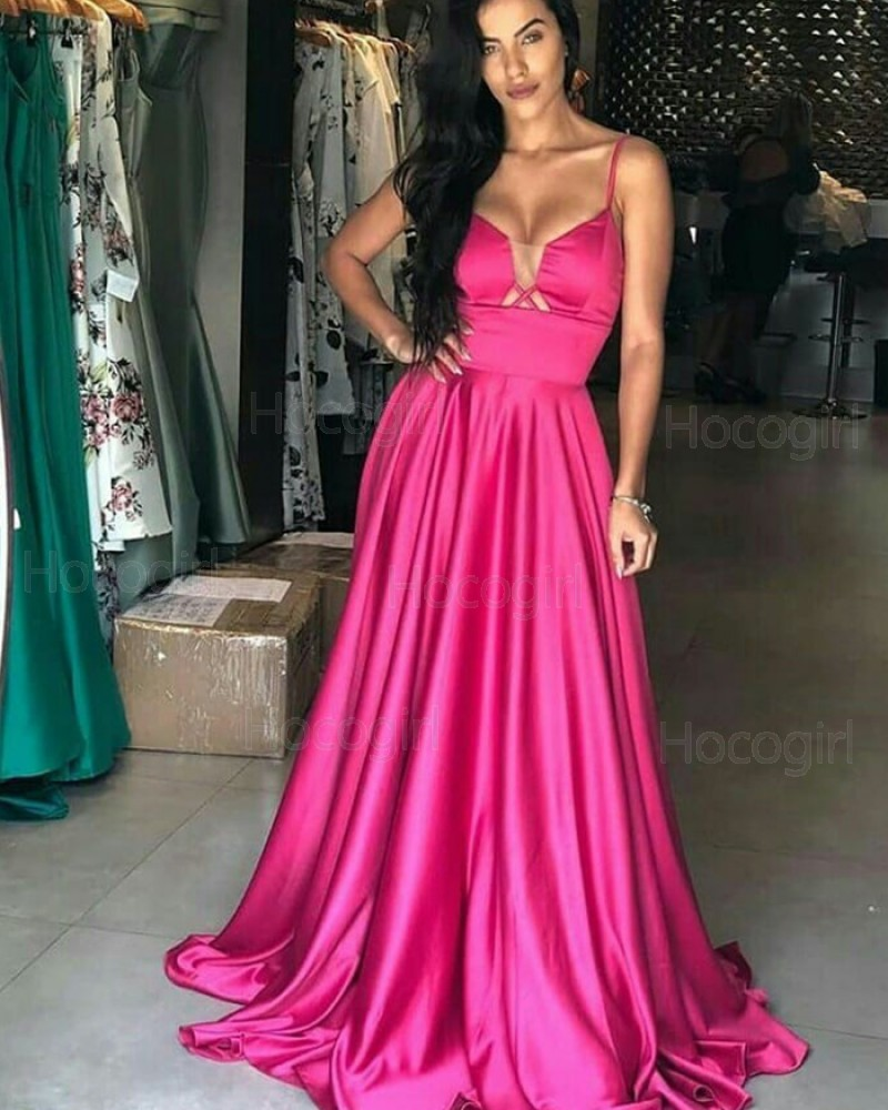 Simple Square Rose Red Satin Prom Dress PD1788