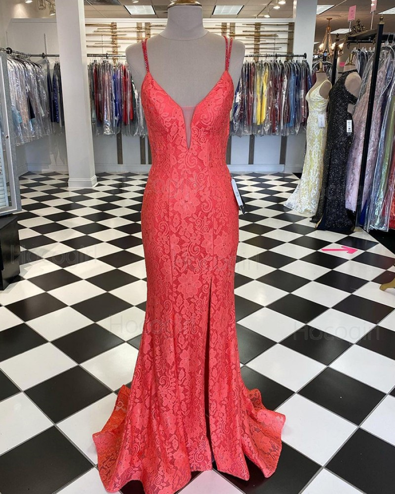 Double Spaghetti Straps Fuchsia Lace Mermaid Prom Dress with Side Slit PD1990