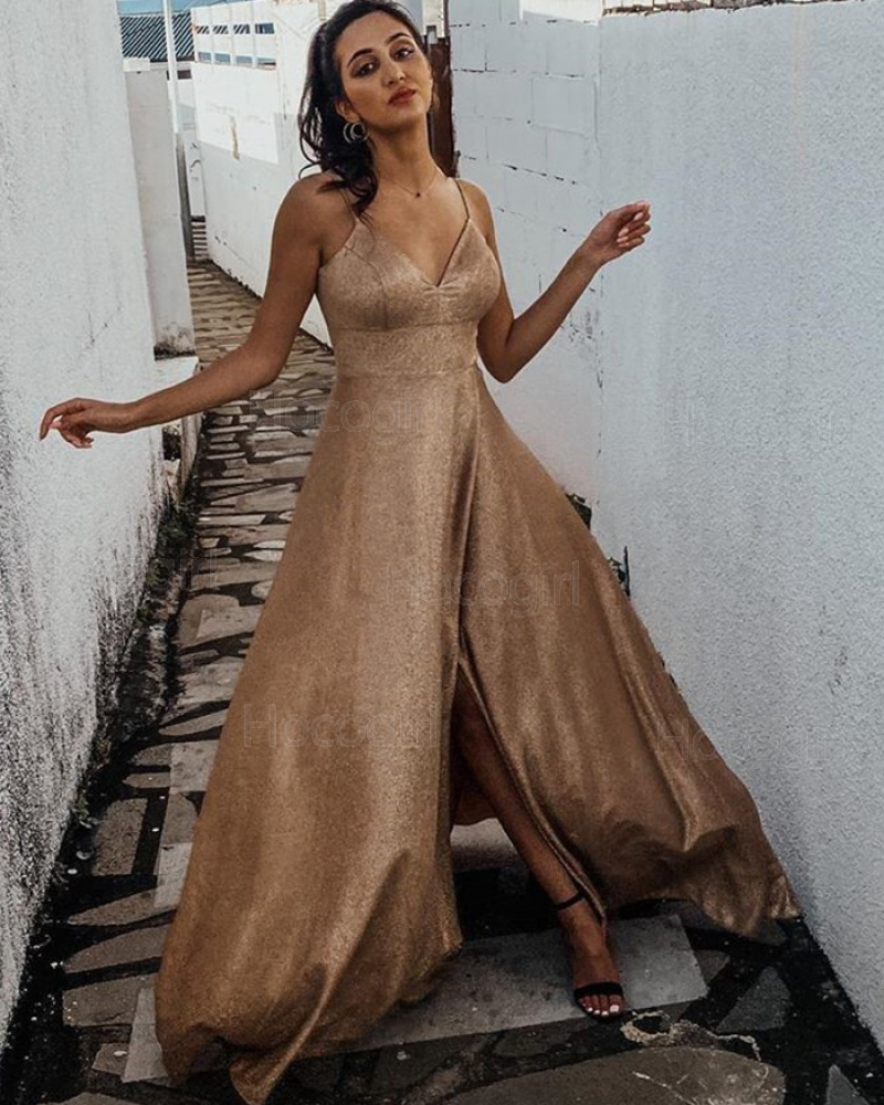 Spaghetti Straps Metallic Gold Prom Dress with Side Slit PD1992