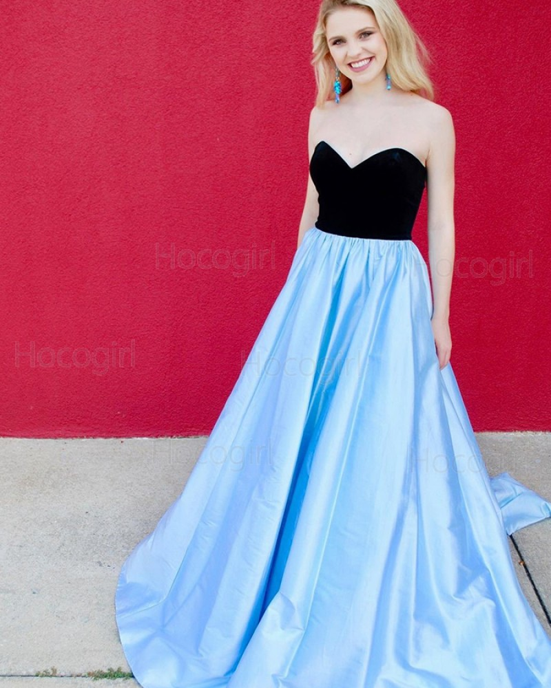 Simple Sweetheart Black & Blue Satin Prom Dress with Pockets PD1995