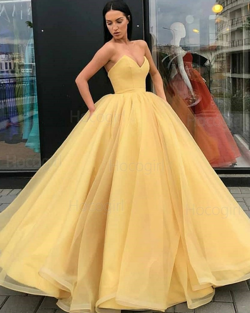 Simple Sweetheart Yellow Tulle Ball Gown Prom Dress PD1998