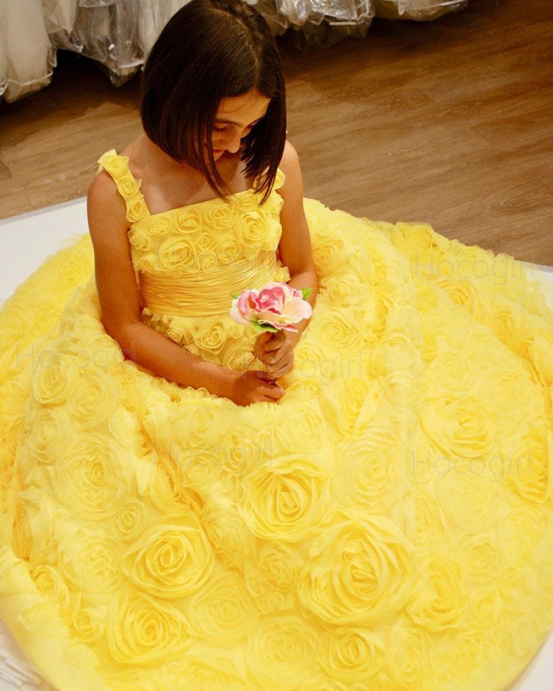 Square Neckline Yellow 3D Flower Lace Prom Dress with Bowknot PD1999