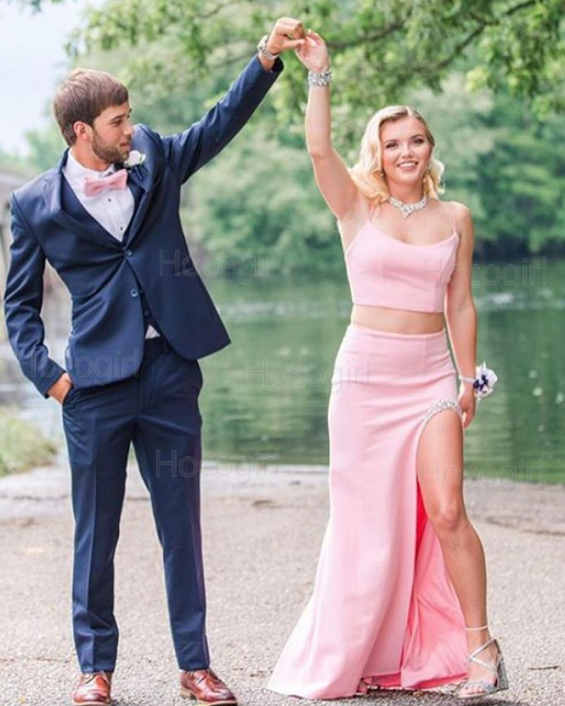 Two Piece Spaghetti Straps Light Pink Mermaid Prom Dress with Beading Side Slit PD2000