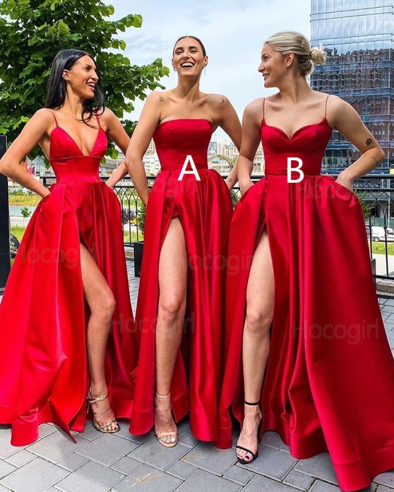 Simple Strapless Red Satin Side Slit Prom Dress with Pockets PD2004
