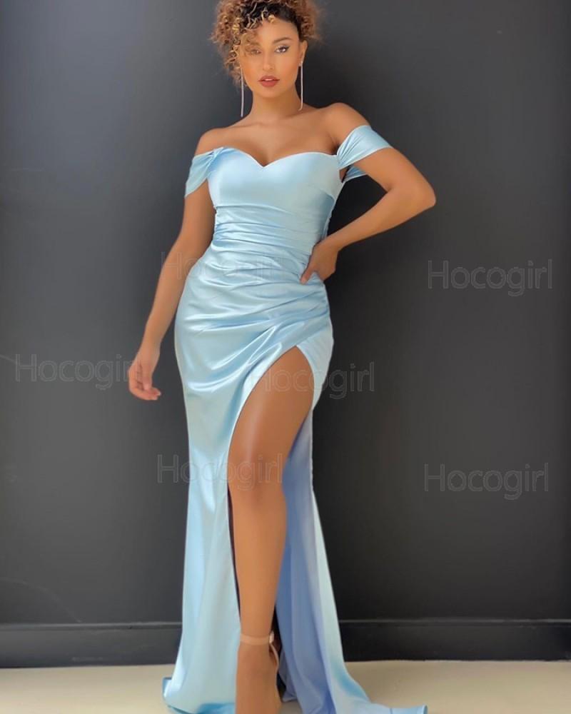 Off the Shoulder Light Blue Satin Prom Dress with Side Slit PD2010