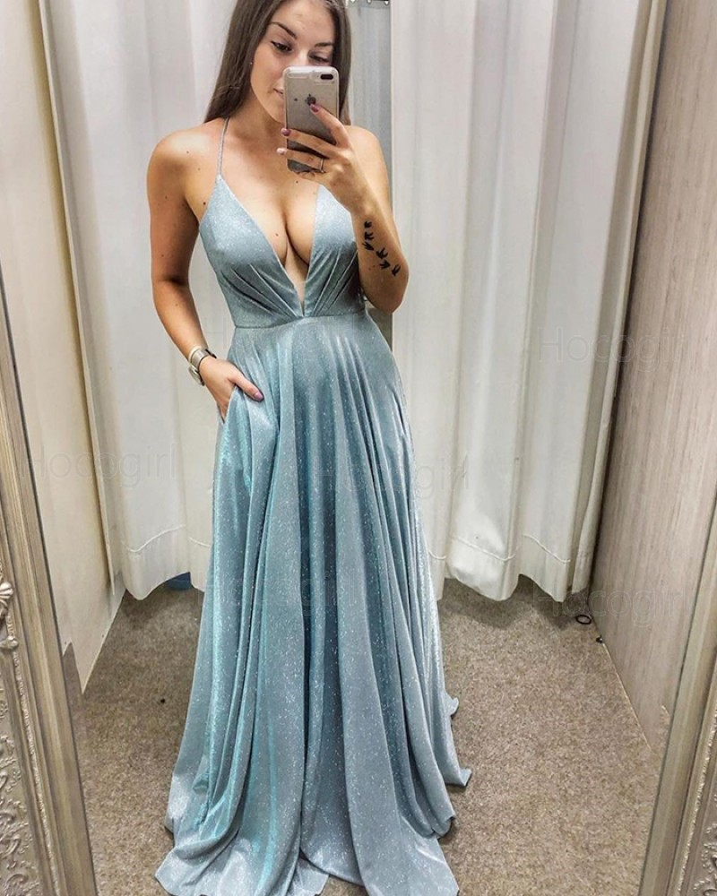 Light Blue Ruched Metallic A-line Prom Dress with Pockets PD2025