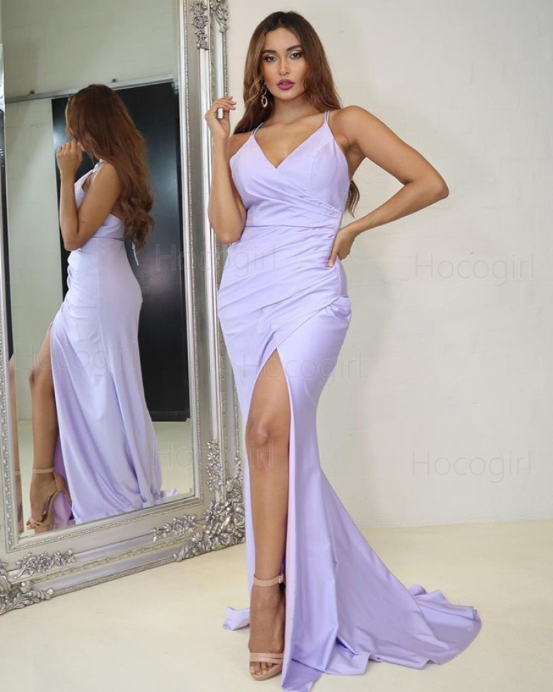 Spaghetti Strapls Light Purple Ruched Mermaid Prom Dress with Side Slit PD2027