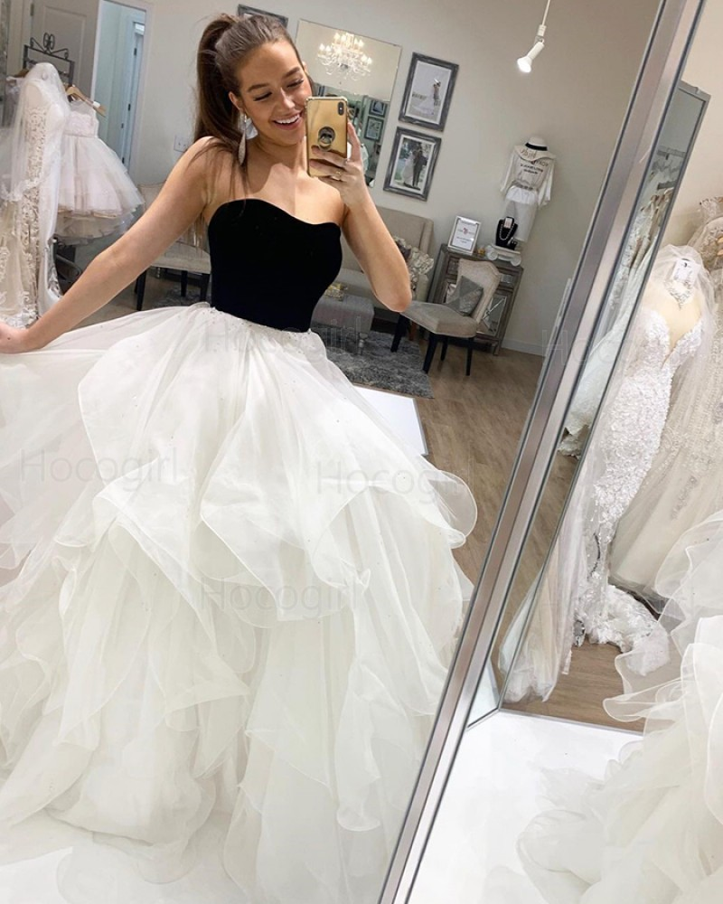 Simple Strapless Black & White Tulle Ruffle Prom Dress PD2028