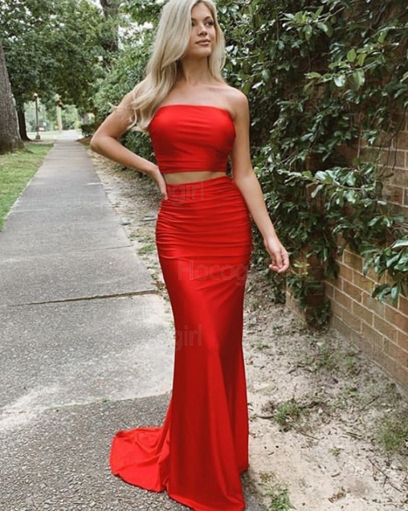 Simple Two Piece Strapless Satin Red Prom Dress PD2035