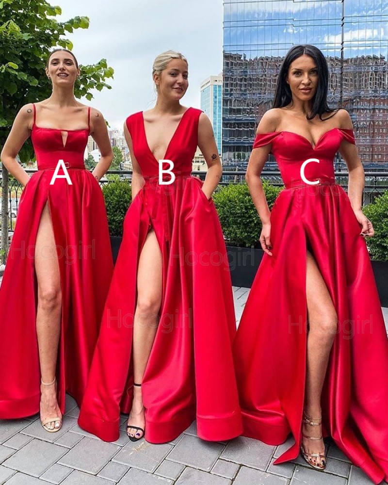 Simple Spagehtti Straps Red Cutout Satin Side Slit Prom Dress with Pockets PD2036