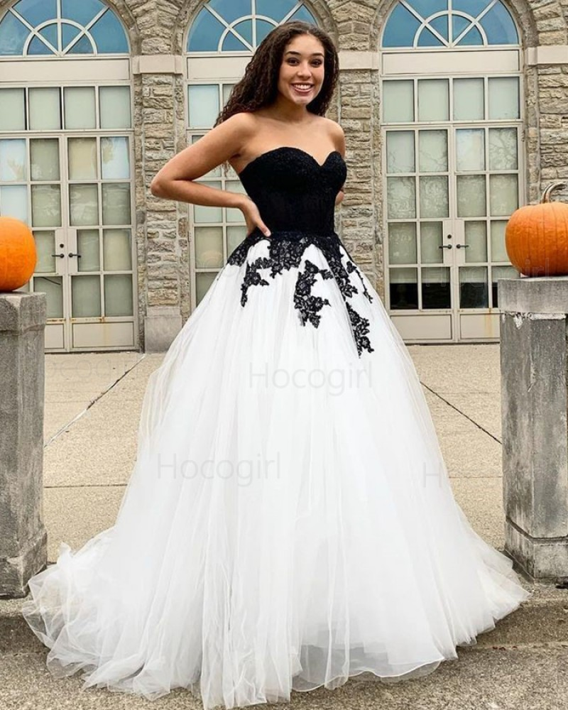 Sweetheart Black & White Tulle Applique Prom Dress PD2047