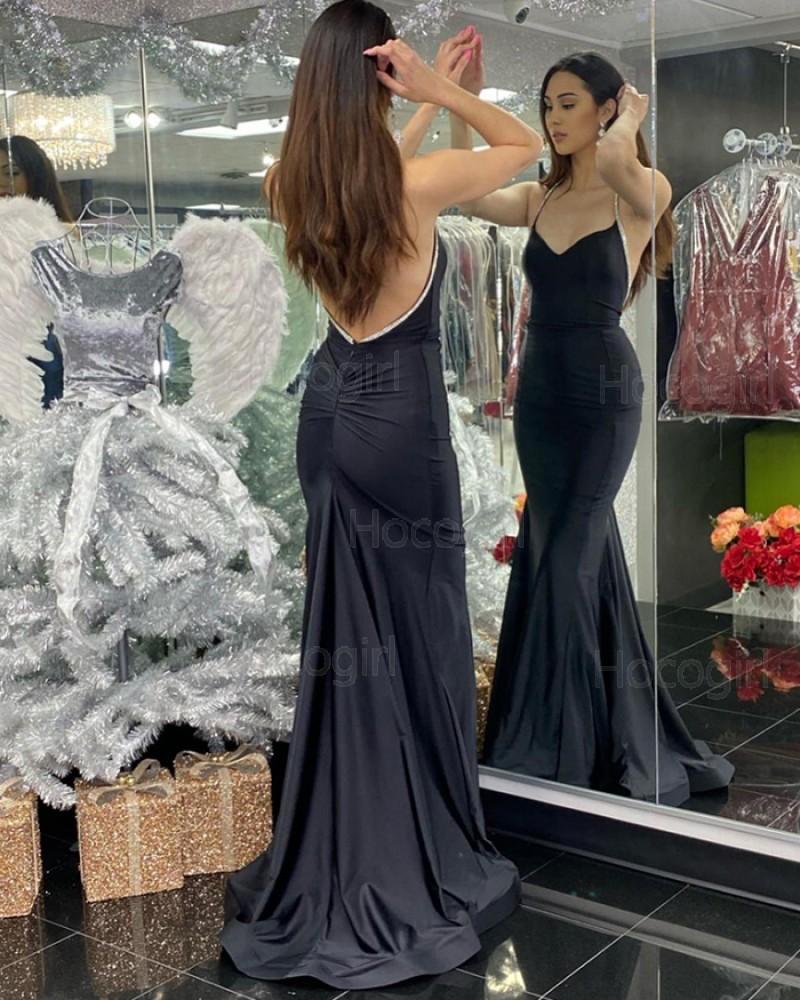 Simple Halter Black Mermaid Satin Prom Dress with Beading PD2052