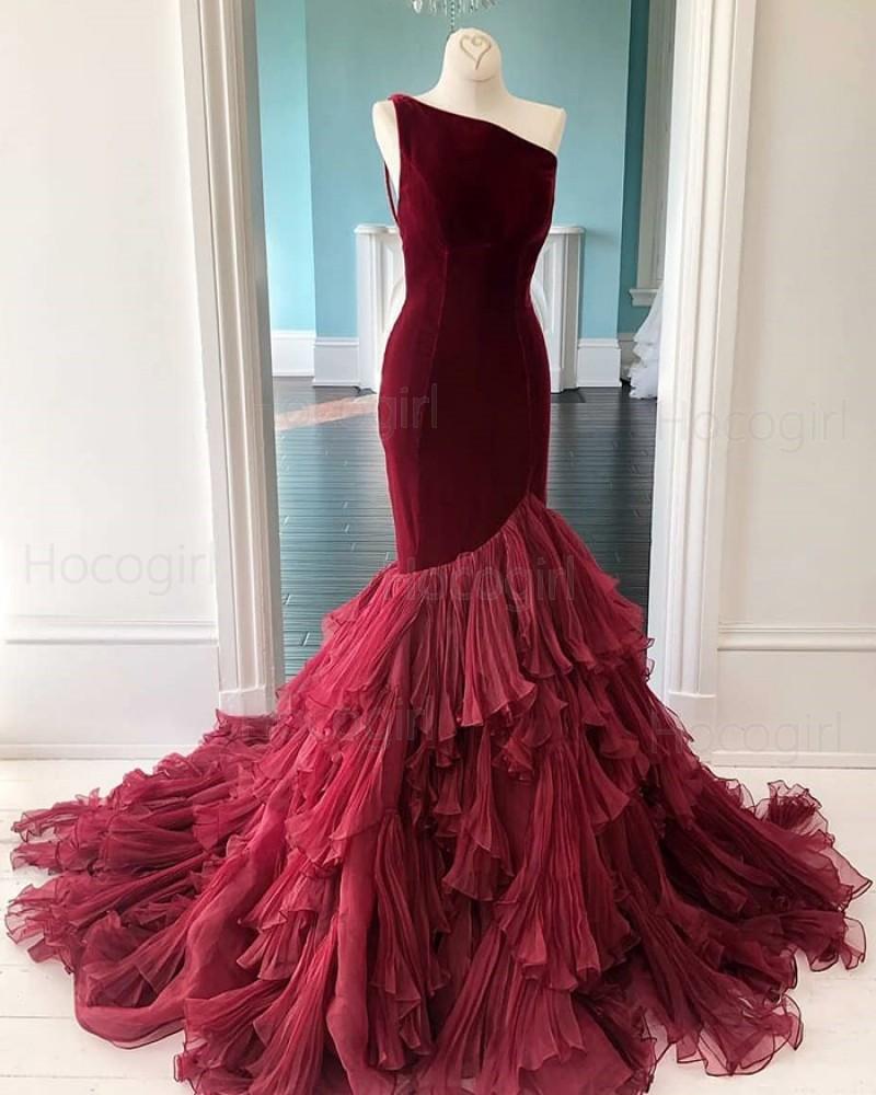 One Shoulder Burgundy Velvet Ruffled Mermaid Prom Dress PD2056