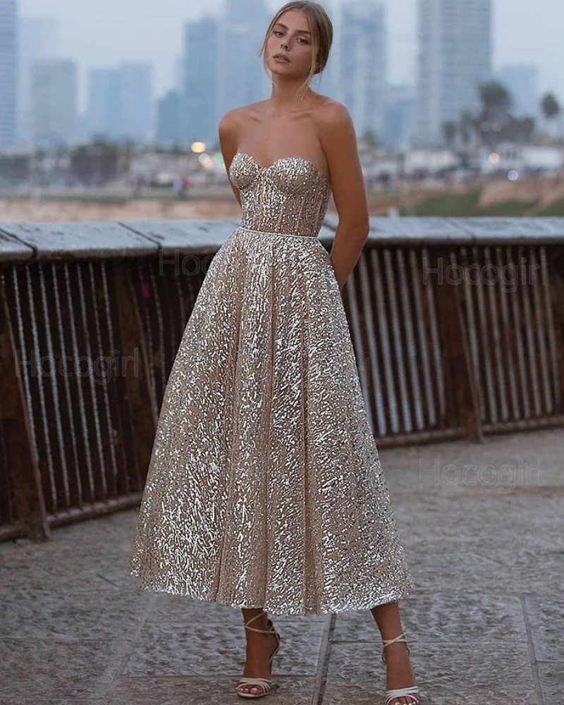 Sweetheart Ankle Length Gold Metallic Graduation Dress PD2058