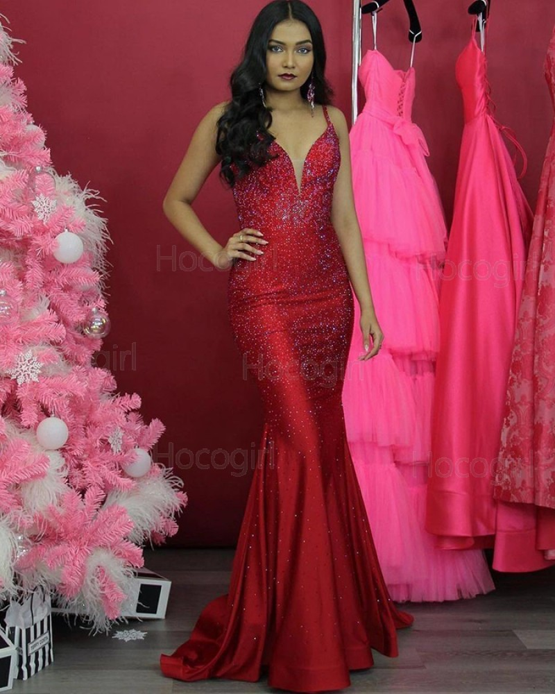 Spaghetti Straps Sparkle Sequin Red Mermaid Prom Dress PD2062