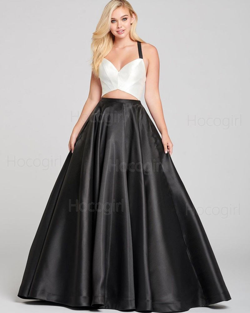 Simple Criss-cross Cutout White & Black Satin Prom Dress with Pockets PD2065