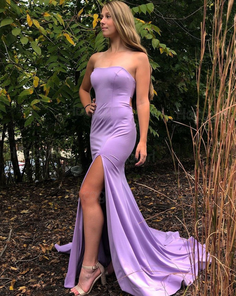 Simple Strapless Lavender Satin Mermaid Prom Dress with Side Slit PD2068