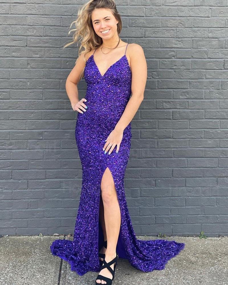 Spaghetti Straps Royal Blue Glitter-Knit Mermaid Prom Dress PD2078