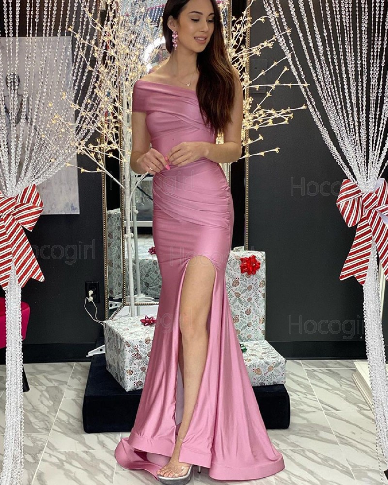 One Shoulder Ruched Dusty Pink Satin Mermaid Prom Dress with Side Slit PD2082