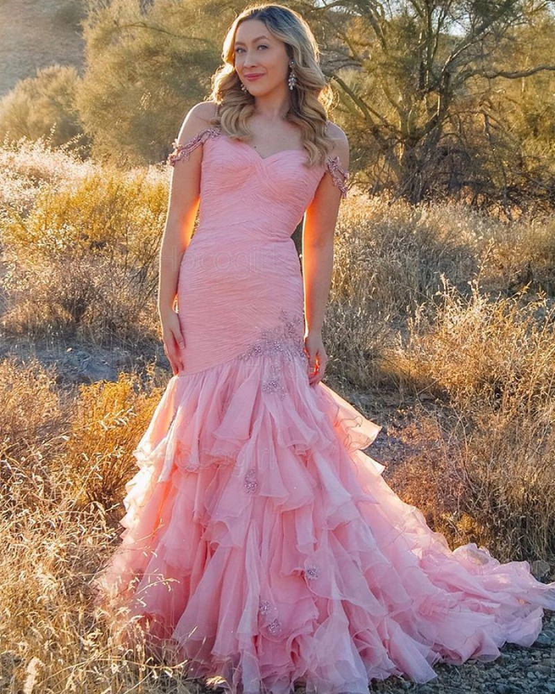 Cold Shoulder Ruffled Pink Tulle Beading Prom Dress PD2084