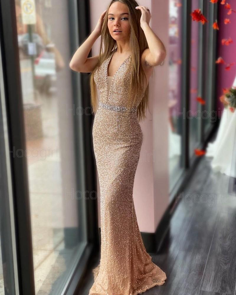 Deep V-neck Glitter-knit Gold Beading Prom Dress PD2088