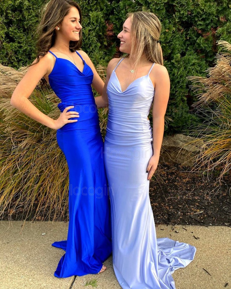 Simple Blue Spaghetti Straps Ruched Satin Mermaid Prom Dress PD2091