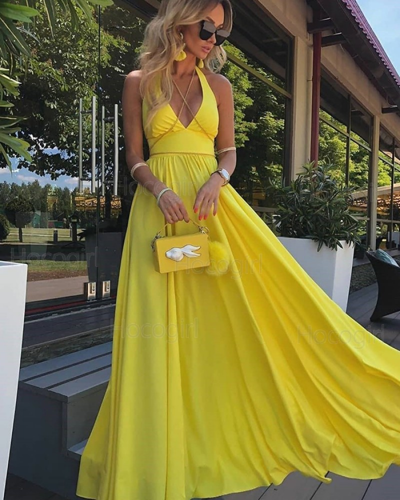 Simple Halter Yellow Satin Pleated Prom Dress PD2095