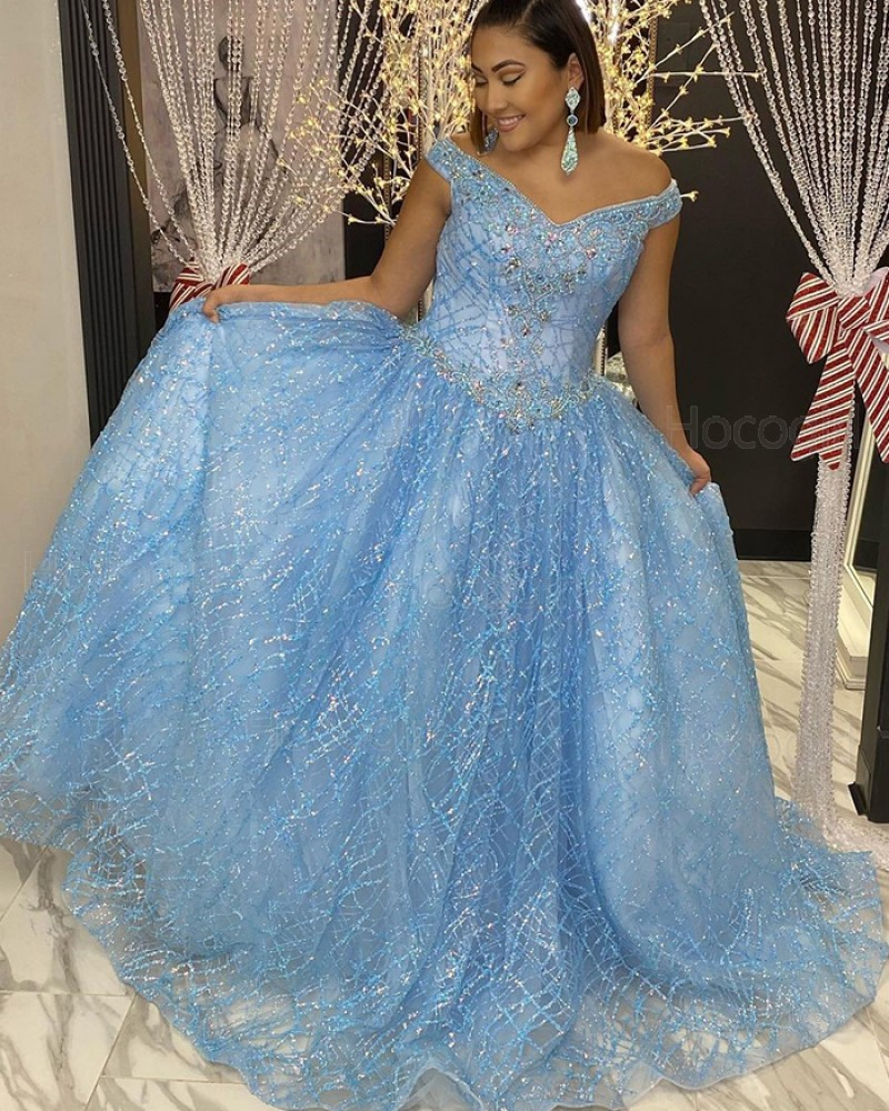 V-neck Light Blue Sequin Pleated Beading Prom Dress PD2096