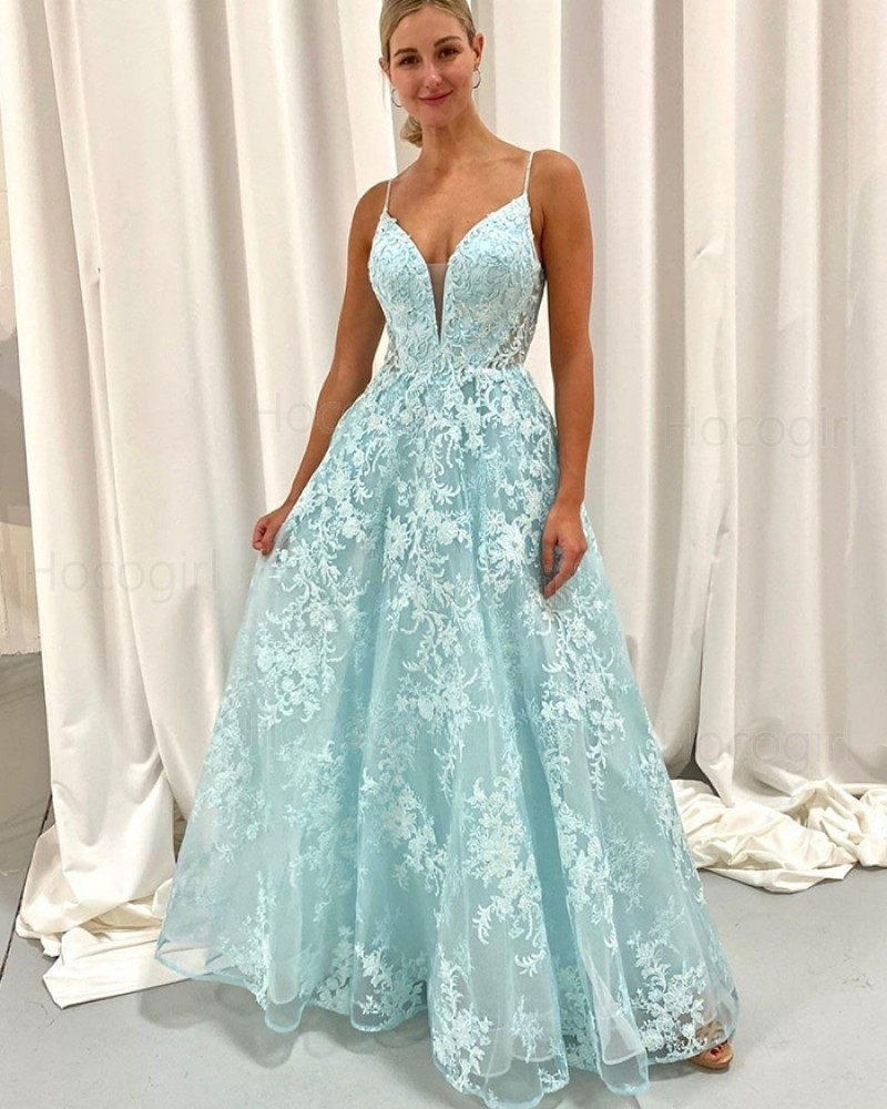 Spaghetti Straps Mint Lace Tulle A-line Prom Dress PD2104