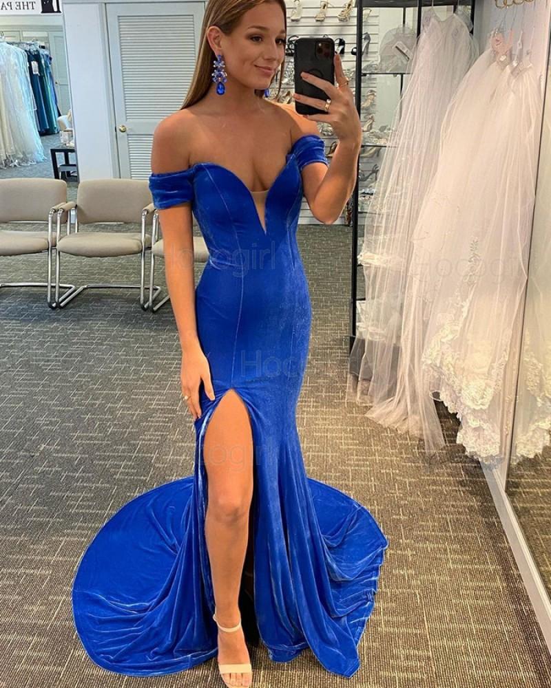 Off the Shoulder Blue Velvet Mermaid Prom Dress with Side Slit PD2108