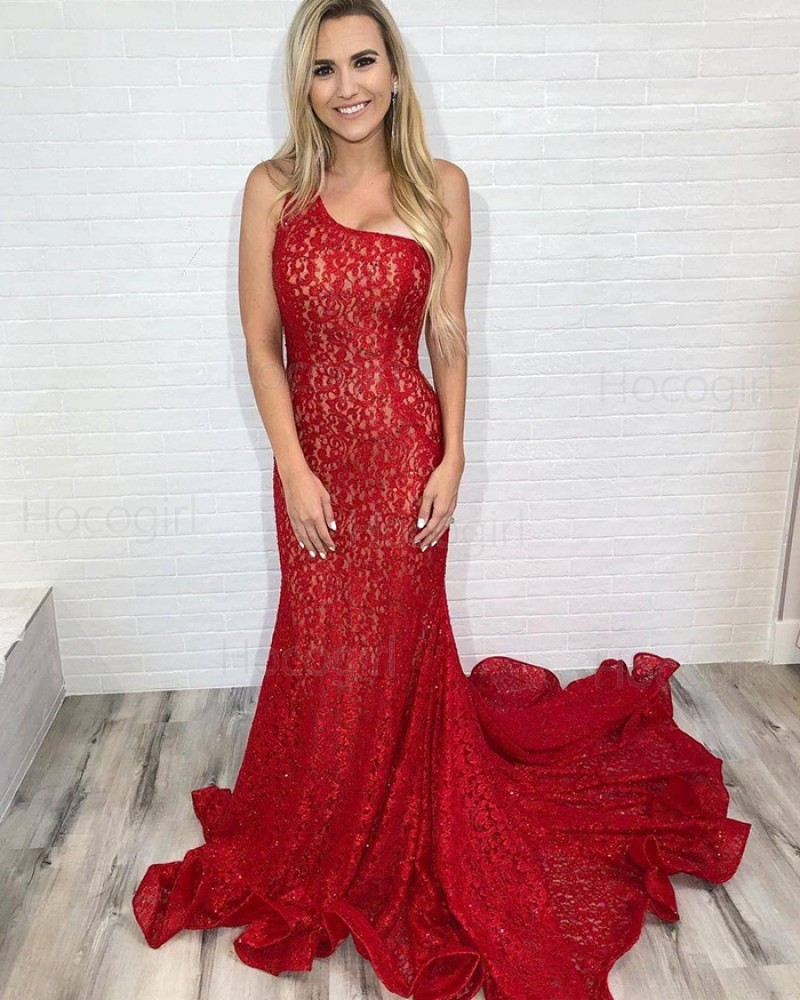 Elegant One Shoulder Red Lace Mermaid Prom Dress PD2111