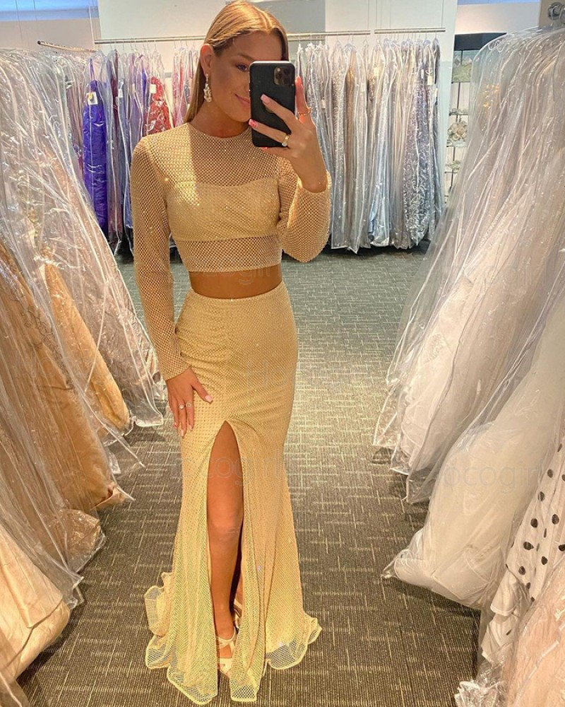 Two Piece Light Yellow Long Sleeve Cross Net Lace Mermaid Prom Dress with Side Slit PD2119