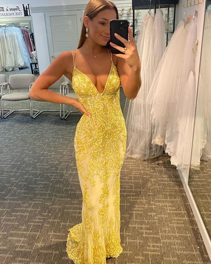 Spaghetti Straps Yellow Lace Mermaid Prom Dress PD2120