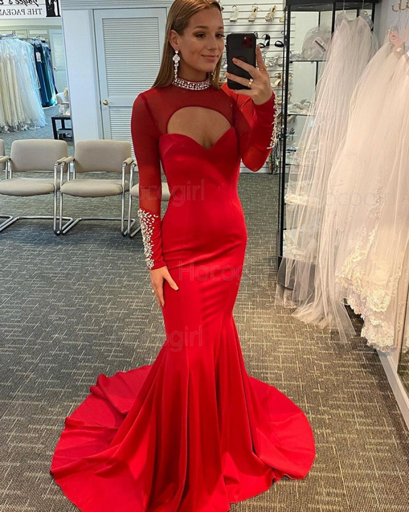 High Neck Beading Red Cutout Mermaid Satin Evening Dress with Long Sleeves PD2121