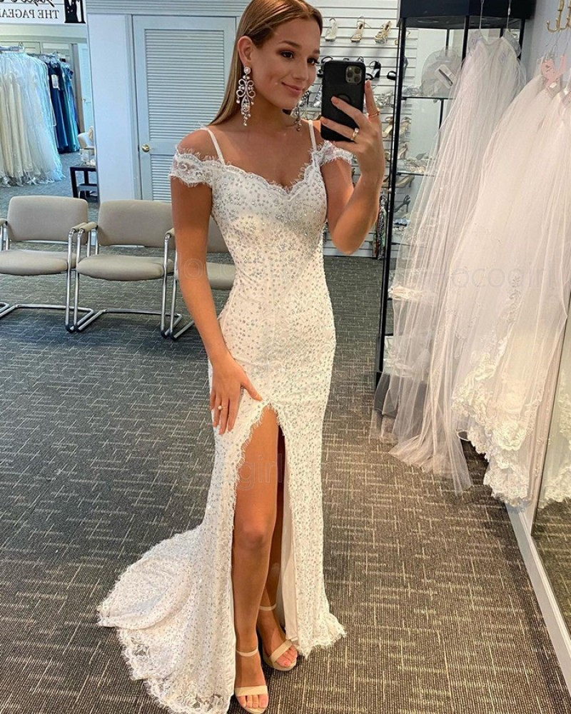Cold Shoulder White Beading Lace Mermaid Prom Dress with Side Slit PD2122