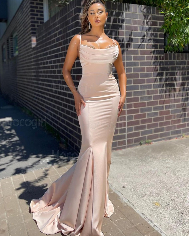 Dusty Pink Spaghetti Straps Ruched Beading Satin Prom Dress PD2127