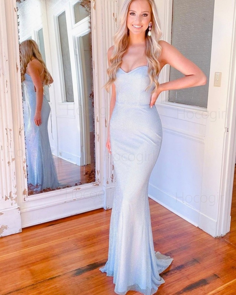 Simple Spaghetti Straps Sky Blue Cross Net Lace Mermaid Prom Dress PD2130