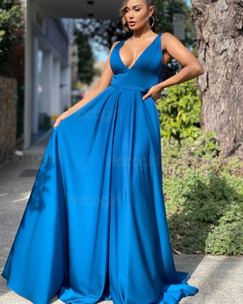 Simple V-neck Blue Satin Prom Dress with Pockets PD2133