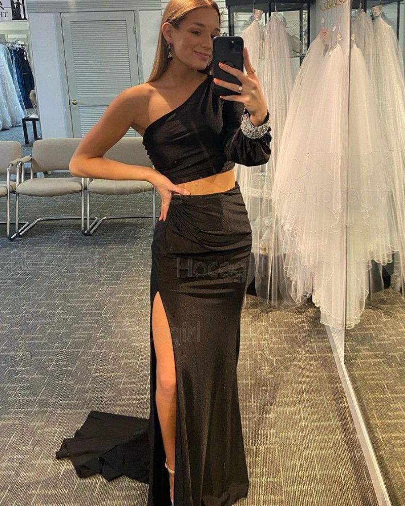 One Shoulder Black Two Piece Long Sleeve Mermaid Prom Dress with Side Slit PD2140
