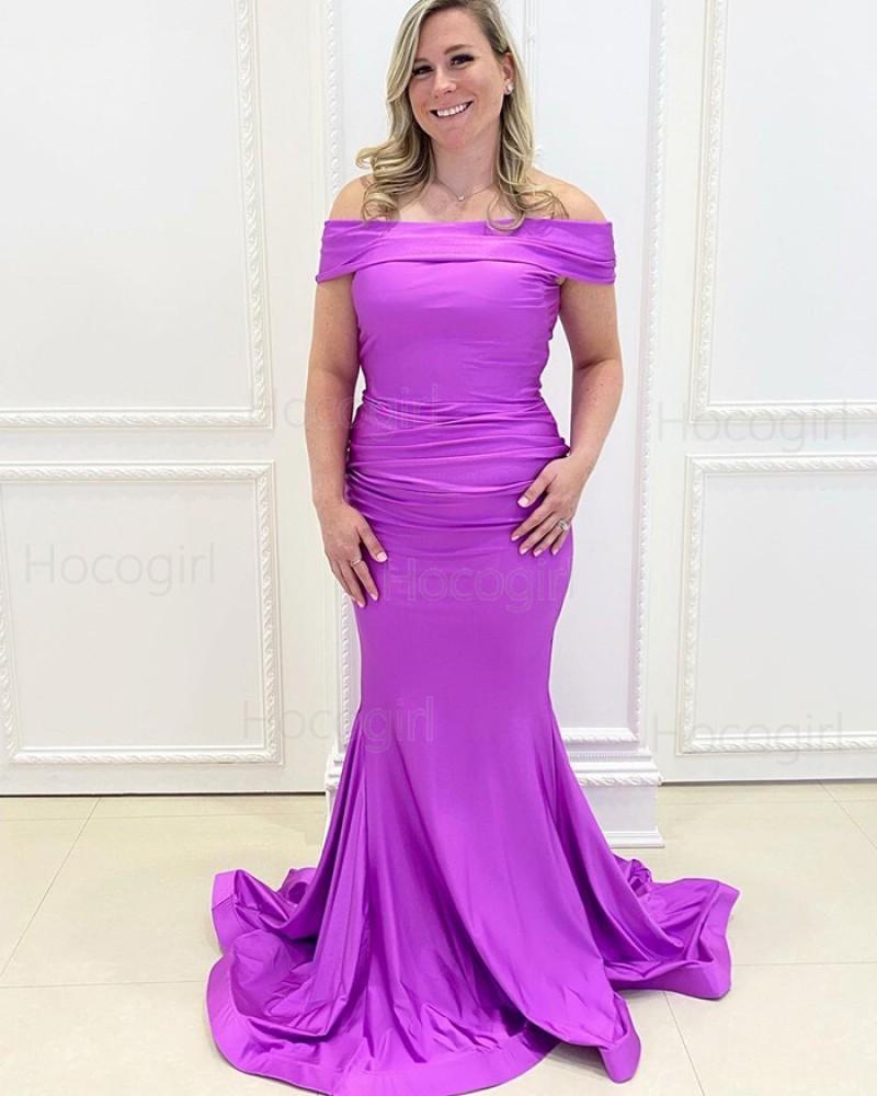 Simple Off the Shoulder Purple Satin Mermaid Prom Dress PD2154
