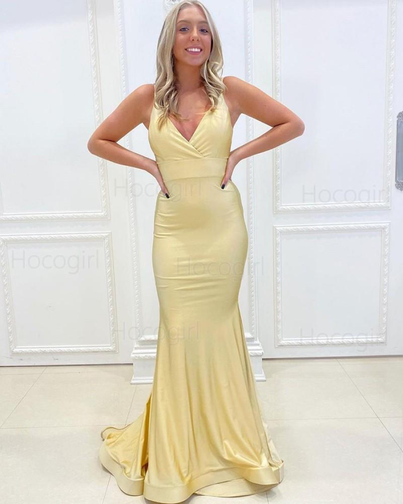 Simple Spaghetti Straps Light Yellow Satin Mermaid Prom Dress PD2161