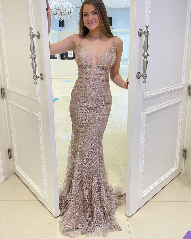Spaghetti Straps Beading Lace Mermaid Prom Dress PD2168