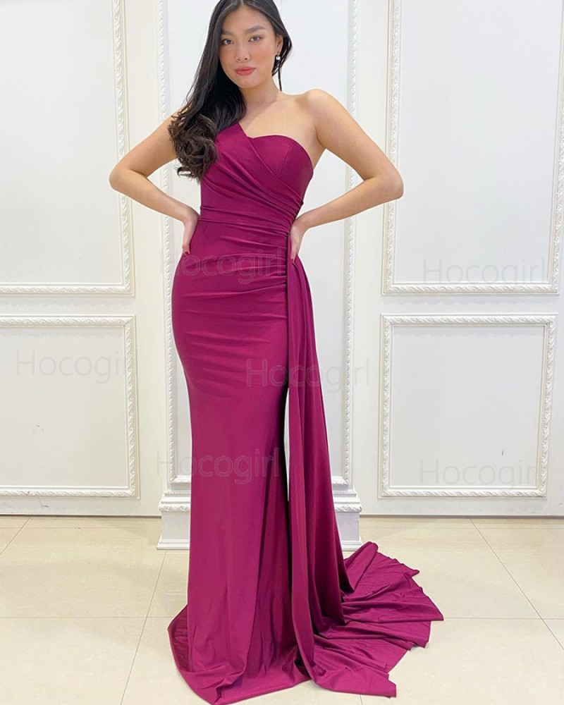 Simple One Shoulder Burgundy Ruched Satin Mermaid Prom Dress PD2169