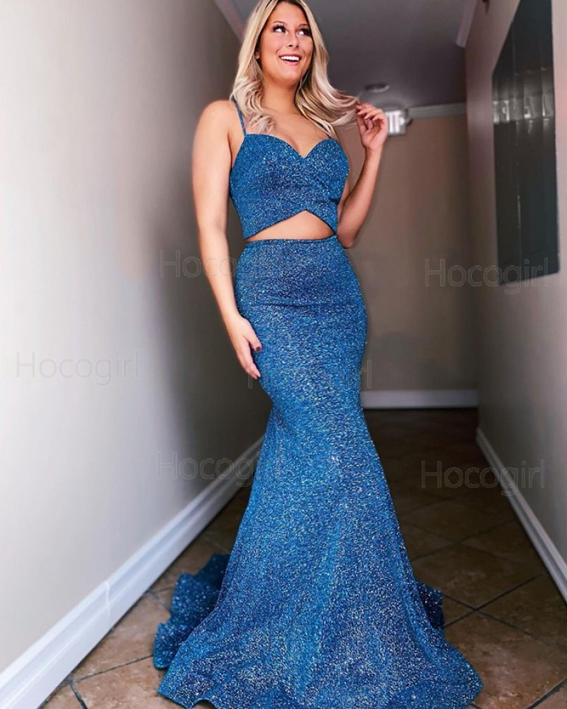 Two Piece Spaghetti Straps Navy Blue Sequin Mermaid Prom Dress PD2181