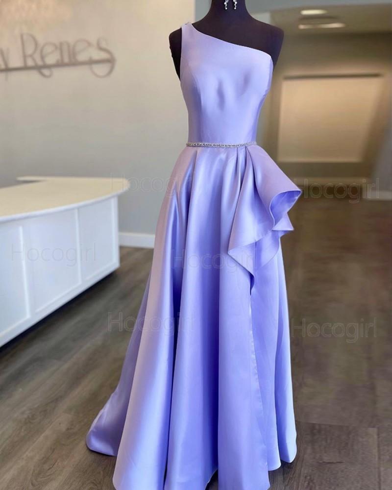 One Shoulder Lavender Beading Satin Prom Dress with Side Slit PD2188