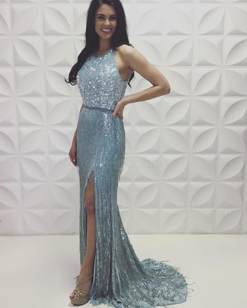 Jewel Neckline Silver Tassel Sequin Mermaid Prom Dress with Side Slit PD2190